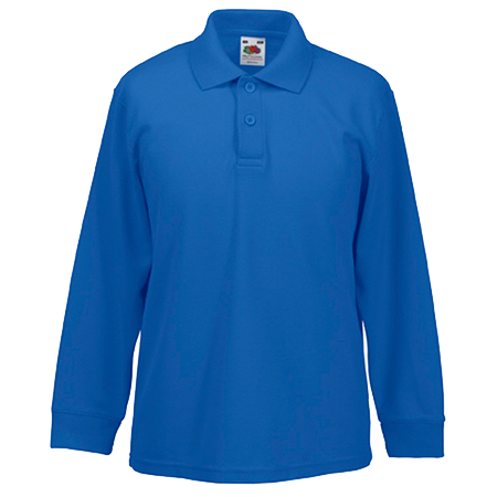 Kids Long Sleeve Pique Polo Shirt in royal-blue