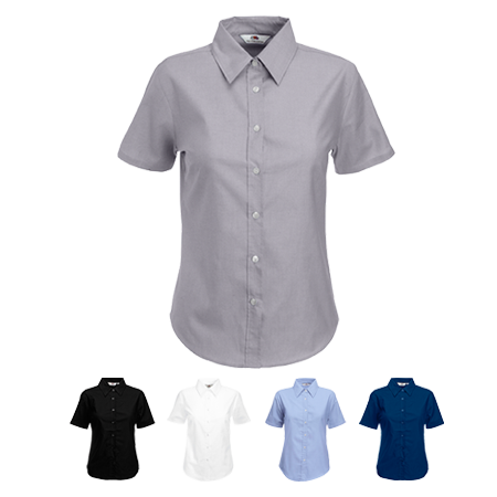 Lady Fit Short Sleeve Oxford Shirt in white