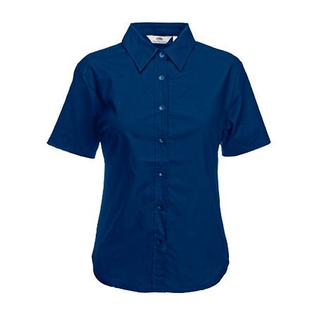 Lady Fit Short Sleeve Oxford Shirt in navy