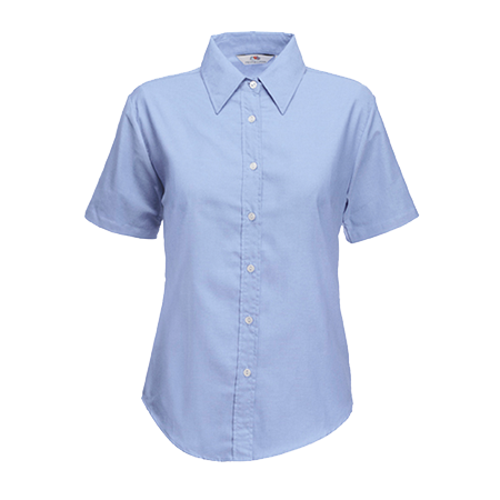 Lady Fit Short Sleeve Oxford Shirt in oxford-blue