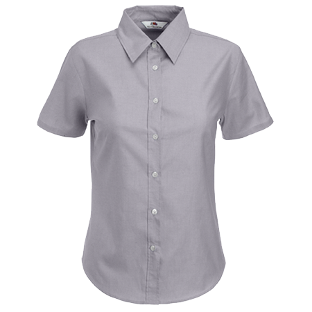 Lady Fit Short Sleeve Oxford Shirt in oxford-grey