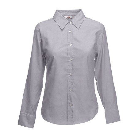 Lady Fit Long Sleeve Oxford Shirt in oxford-grey