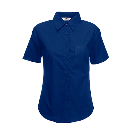 Lady Fit Short Sleeve Poplin Shirt in navy