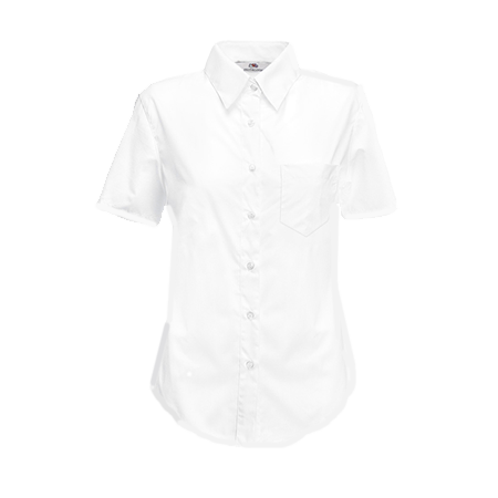 Lady Fit Short Sleeve Poplin Shirt in white