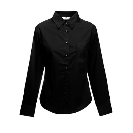 Lady Fit Long Sleeve Poplin Shirt in black
