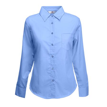 Lady Fit Long Sleeve Poplin Shirt in mid-blue