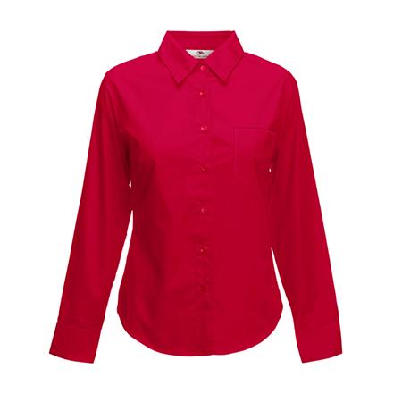Lady Fit Long Sleeve Poplin Shirt in red