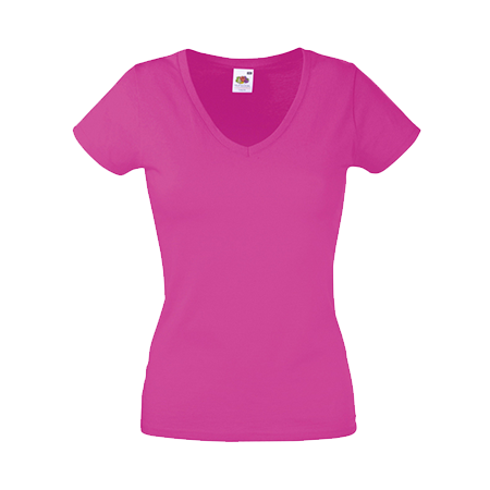 Lady Fit Value V Neck T-Shirt in fuchsia