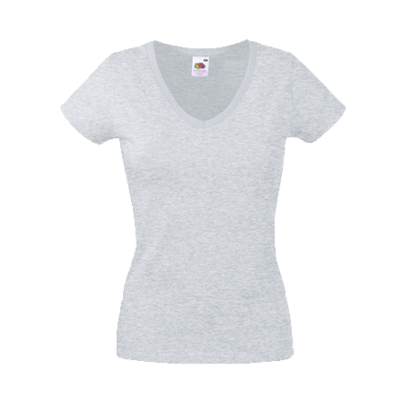 Lady Fit Value V Neck T-Shirt in heather-grey