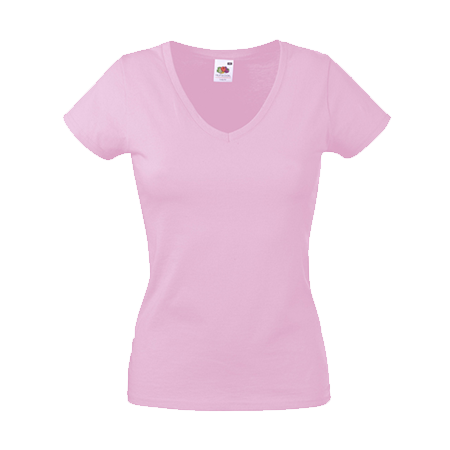 Lady Fit Value V Neck T-Shirt in light-pink