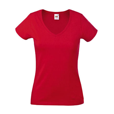 Lady Fit Value V Neck T-Shirt in red