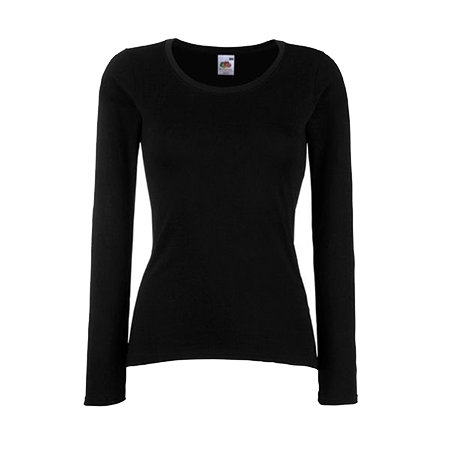 Lady Fit Value Long Sleeve T-Shirt in black