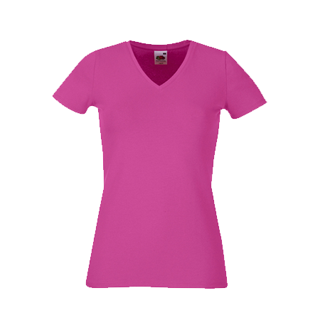 Lady Fit V Neck T-Shirt in fuchsia