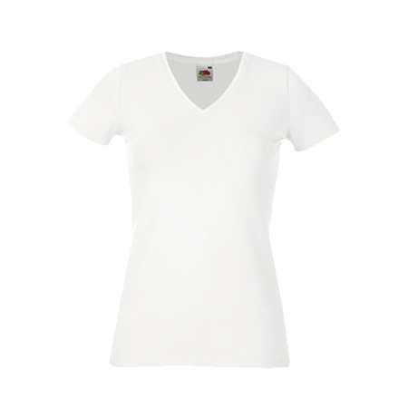 Lady Fit V Neck T-Shirt in white