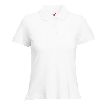 Lady Fit Pique Polo Shirt in white