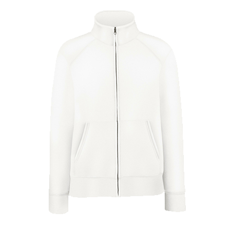 Lady Fit Sweat Jacket in white