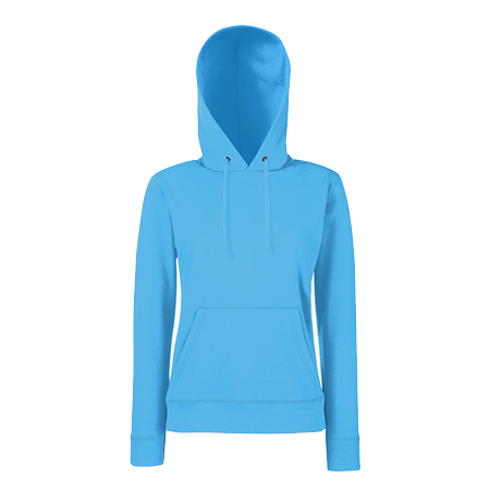 Lady Fit Hooded Sweat in azure