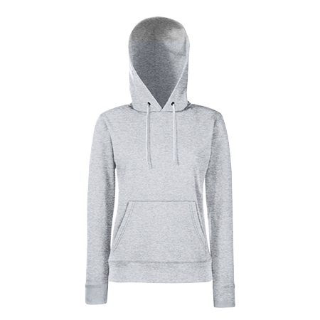 Lady Fit Hooded Sweat in heather-grey