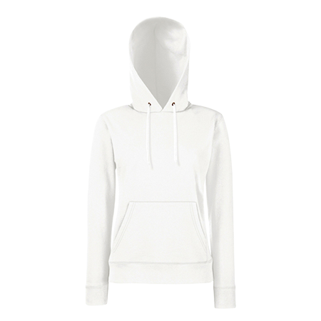 Lady Fit Hooded Sweat in white