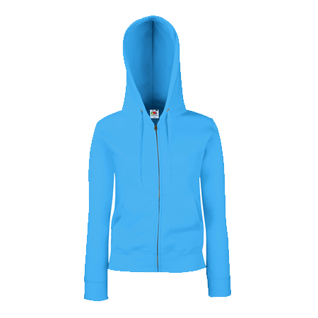 Lady Fit Zip Hooded Jacket in azure