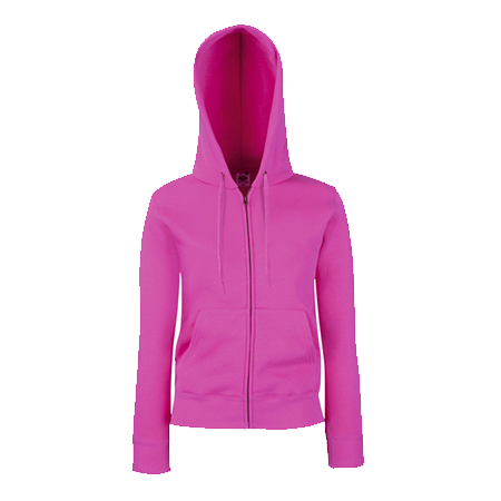 Lady Fit Zip Hooded Jacket in fuchsia