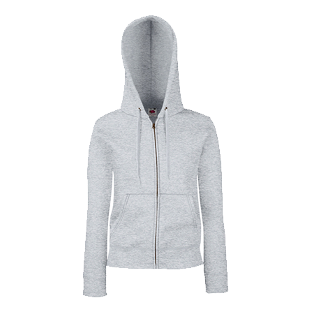 Lady Fit Zip Hooded Jacket in heather-grey
