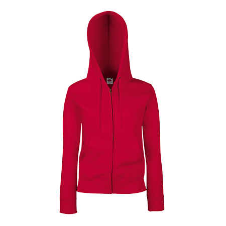 Lady Fit Zip Hooded Jacket in red