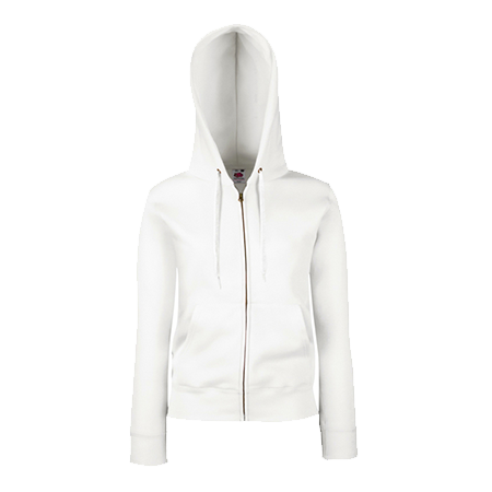 Lady Fit Zip Hooded Jacket in white
