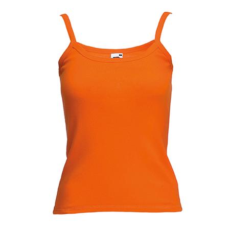 Lady Fit Rib Strap Vest in orange