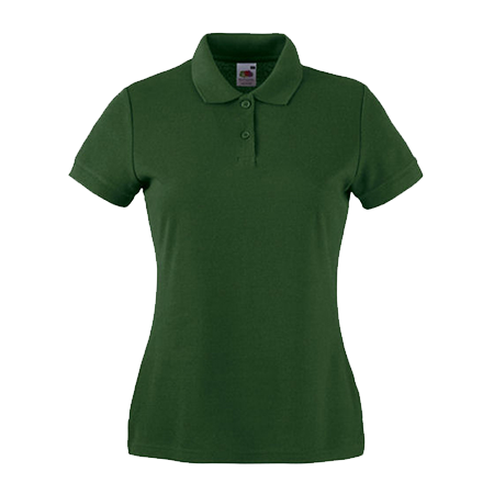 Lady Fit Poly Cotton Pique Polo Shirt in bottle-green