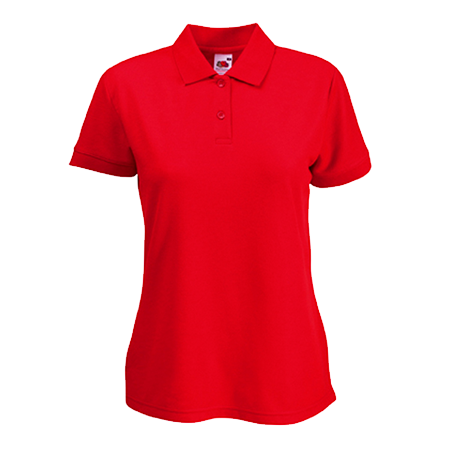 Lady Fit Poly Cotton Pique Polo Shirt in red