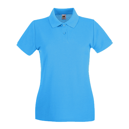 Lady Fit Premium Pique Polo Shirt in azure