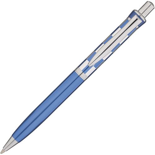 Chequers Metal Pens in blue