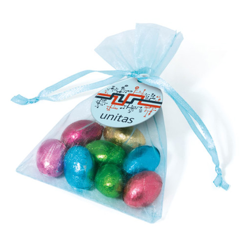 Organza Bag Foil Wrapped Chocolate Eggs