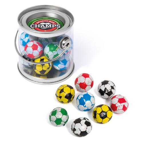 Mini Bucket Milk Chocolate Footballs