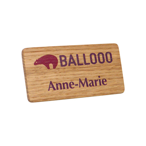 Personalised Real Wood Name Badges, full colour print