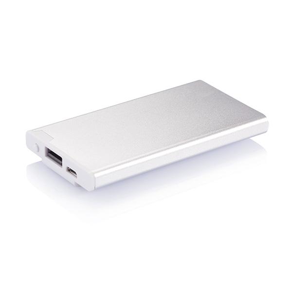 2.500 mAh powerbank with clip, silver