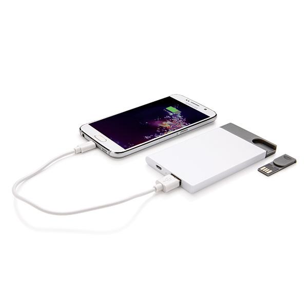 2500 mAh Powerbank - 8GB USB, white