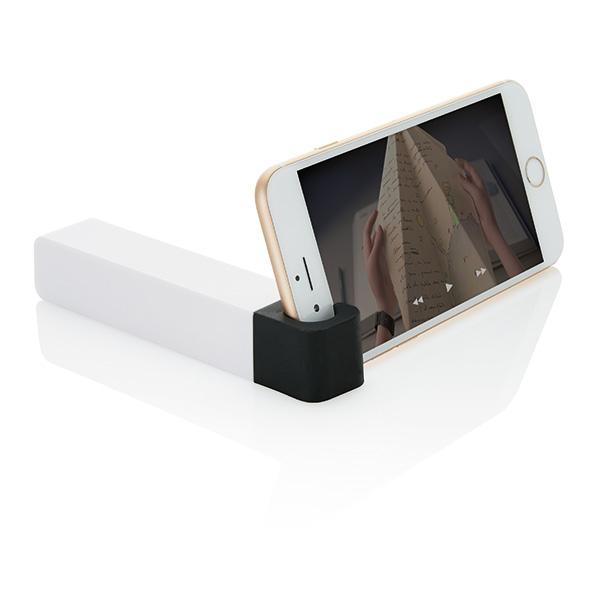 2.200 mAh powerbank with phone stand, black/white