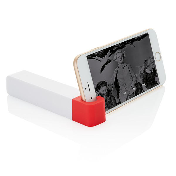 2.200 mAh powerbank with phone stand, red/white