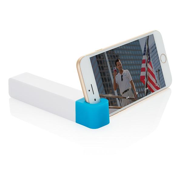 2.200 mAh powerbank with phone stand, blue/white