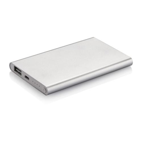 4.000 mAh slim powerbank, silver/white