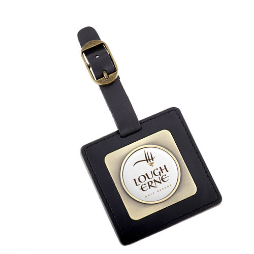 Faux Leather Square Bag Tag