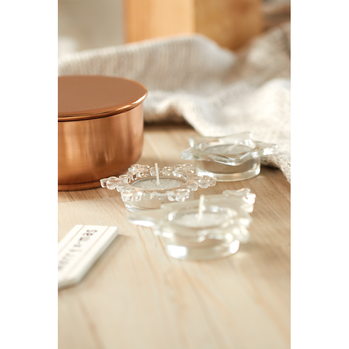ImPrinted Set of 3 glass candle holders