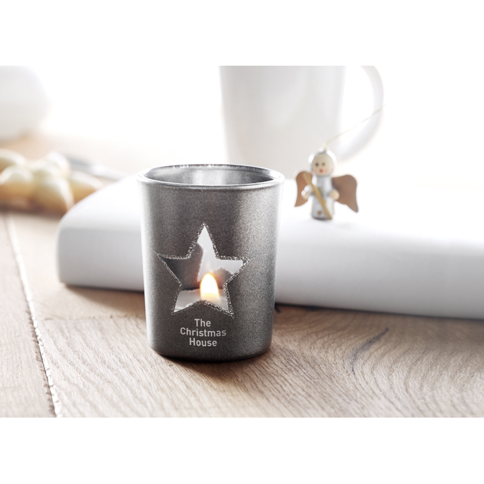 Printed Personalised candles Candle holder with tealight