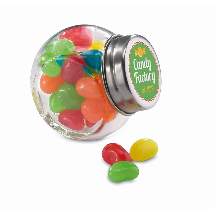 Branded Glass jar with jelly beans