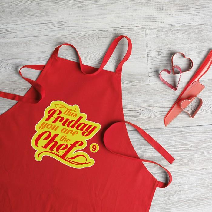 Engraved Kitchen apron in cotton