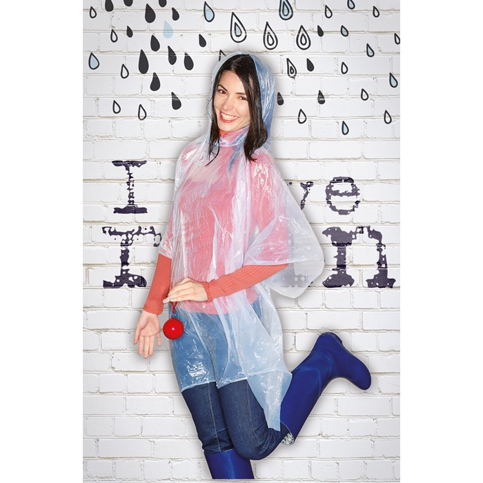 Printed Poncho in round container