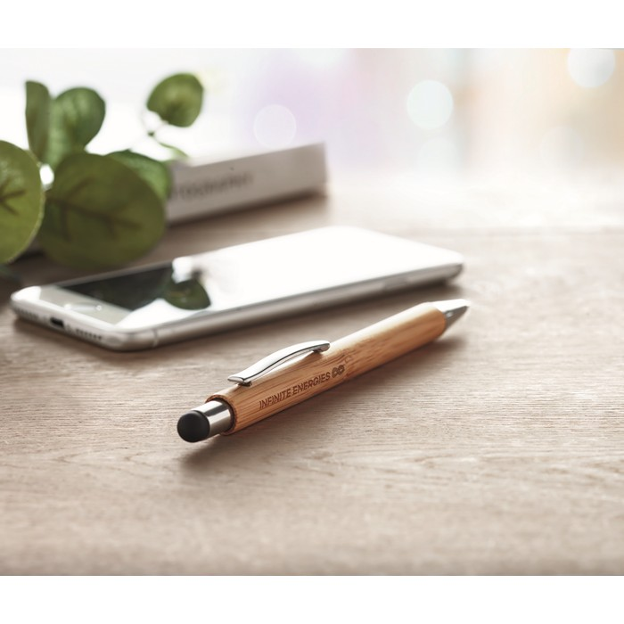 Printed Ball pen in ABS and bamboo