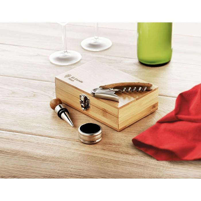 Printed Wine set in bamboo box
